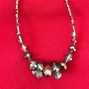 Silver glass beaded necklace